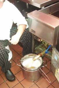 The only acceptable time to sit in the kitchen is when you're cleaning the fryer.